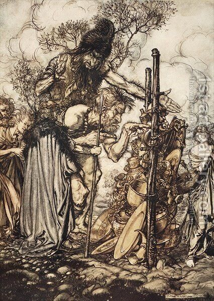 Fafner Hey Come hither, And stop me this cranny, illustration from The Rhinegold and the Valkyrie, 1910 by Arthur Rackham - Reproduction Oil Painting