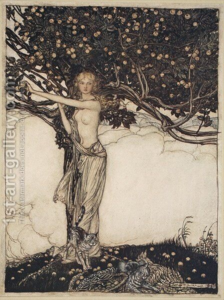 Freia, the fair one, illustration from The Rhinegold and the Valkyrie, 1910 by Arthur Rackham - Reproduction Oil Painting