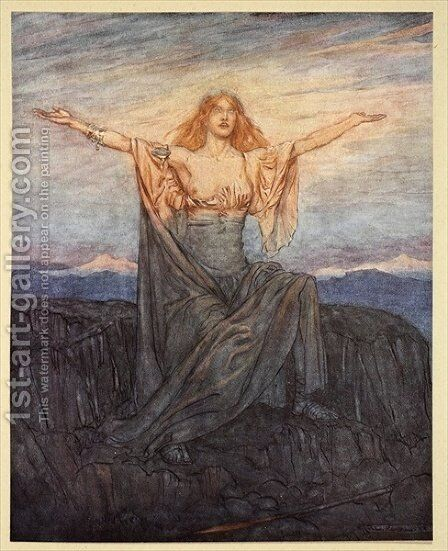 Sun, I hail thee! Hail, O light Hail, O glorious day, illustration from Siegfried and the Twilight of the Gods, 1924 by Arthur Rackham - Reproduction Oil Painting