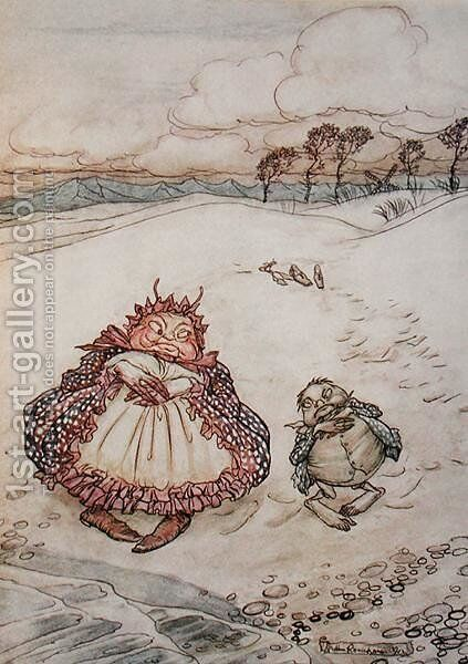 The Crab and his Mother, illustration from Aesops Fables, published by Heinemann, 1912 by Arthur Rackham - Reproduction Oil Painting