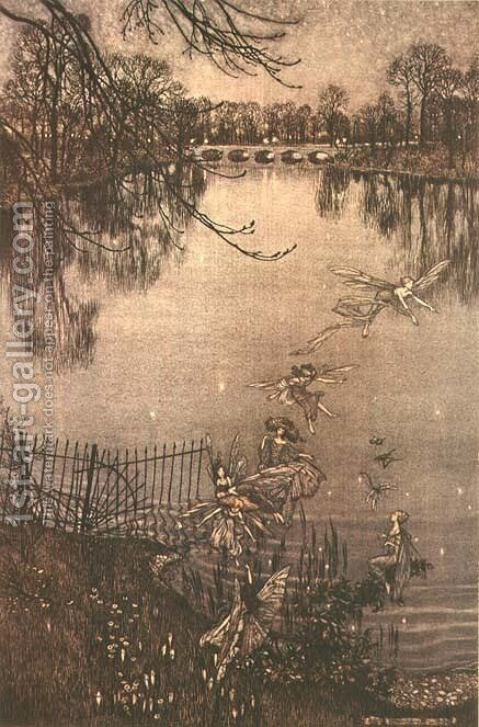 Fairies in Kensington Gardens from Peter Pan in Kensington Gardens by J.M. Barrie, 1906 by Arthur Rackham - Reproduction Oil Painting