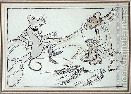 The Town Mouse and the Country Mouse, illustration from Aesops Fables, published 1912 by Arthur Rackham - Reproduction Oil Painting
