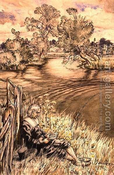 Izaak Walton Reclining Against a Fence, one of a series of illustrations from Izaak Walton, The Complete Angler by Arthur Rackham - Reproduction Oil Painting