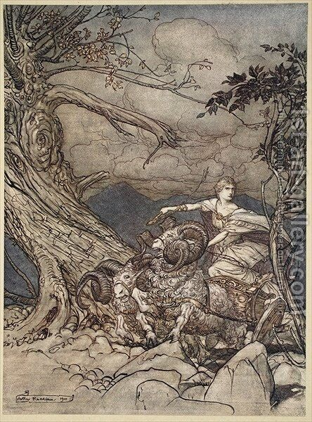 Fricka approaches in anger, illustration from The Rhinegold and the Valkyrie, 1910 by Arthur Rackham - Reproduction Oil Painting