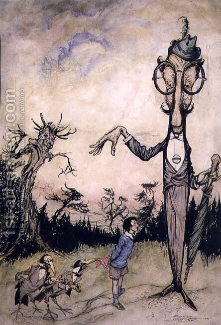 A Giant with a Child and Two Crows, illustration from The Book of Betty Barber by Maggie Brown, pub.1910 pen and ink, later coloured by Harry Rountree, 1878-1950 also an illustration for the Book of Nonsense by Edward Lear 1812-88 pub. 1980 by Arthur Rackham - Reproduction Oil Painting