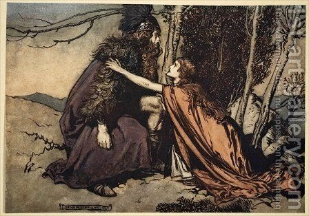 Father Father Tell me what ails thee With dismay thou art filling thy child, illustration from The Rhinegold and the Valkyrie, 1910 by Arthur Rackham - Reproduction Oil Painting