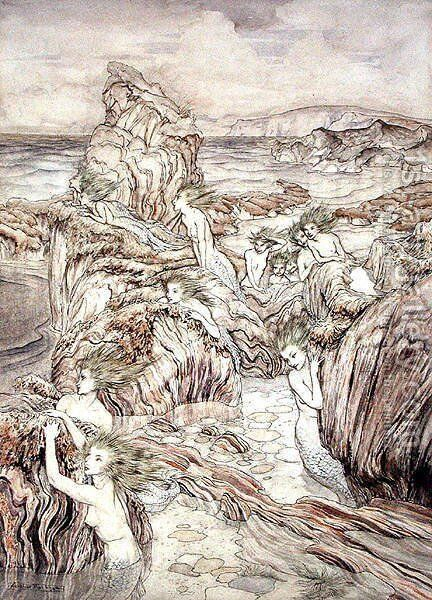 Daughter of the Sea, illustration from The Three Golden Apples, by Nathaniel Hawthorne by Arthur Rackham - Reproduction Oil Painting