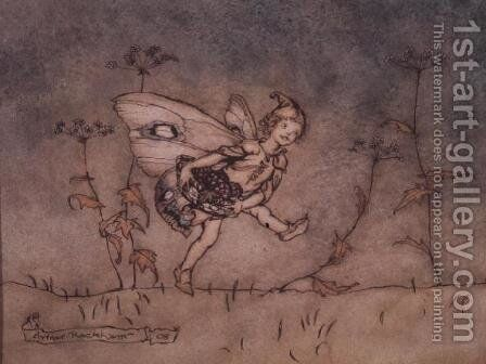 The elf attendant on Bottom, illustration to A Midsummer Nights Dream, 1908 by Arthur Rackham - Reproduction Oil Painting