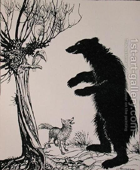 The Bear and the Fox, illustration from Aesops Fables, published by Heinemann, 1912 by Arthur Rackham - Reproduction Oil Painting