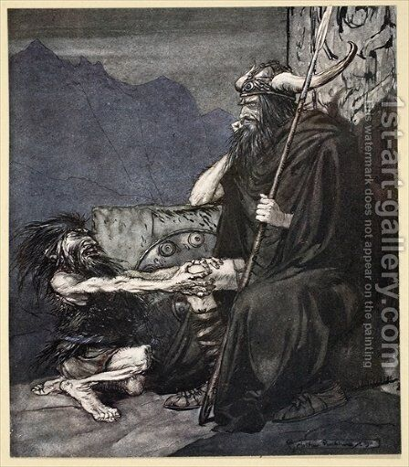 Swear to me, Hagen, my son, illustration from Siegfried and the Twilight of the Gods, 1924 by Arthur Rackham - Reproduction Oil Painting