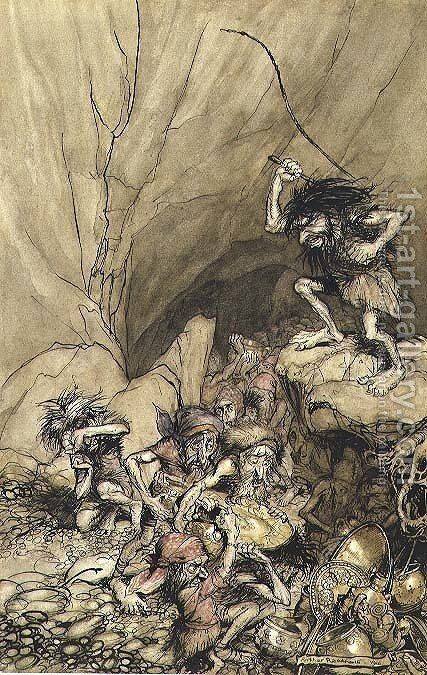 Alberich drives in a band of Nibelungs laden with gold and silver treasure, an illustration from The Rheingold and the Valkyrie by Richard Wagner 1813-83 pub. 1910 by Arthur Rackham - Reproduction Oil Painting