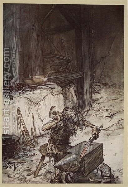 Mime at the anvil, illustration from Siegfried and the Twilight of the Gods, 1924 by Arthur Rackham - Reproduction Oil Painting