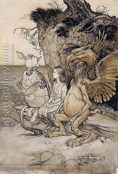 Alice and the Mock Turtle, illustration from Alices Adventures in Wonderland, 1907 by Arthur Rackham - Reproduction Oil Painting
