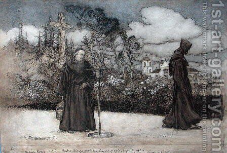 Padre Alonzo watched him out of sight, illustration from Good Night by Eleanor Gates, 1907 by Arthur Rackham - Reproduction Oil Painting