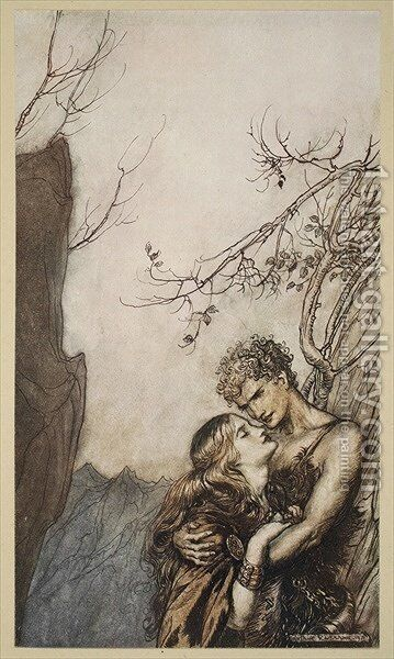 Brunnhilde throws herself into Siegfrieds arms, illustration from Siegfried and the Twilight of the Gods, 1924 by Arthur Rackham - Reproduction Oil Painting