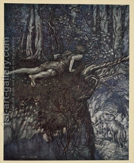 And there I learnt what love was like, illustration from Siegfried and the Twilight of the Gods, 1924 by Arthur Rackham - Reproduction Oil Painting