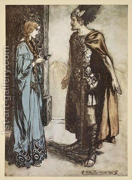 Siegfried hands the drinking horn back to Gutrune, and gazes at her with sudden passion, illustration from Siegfried and the Twilight of the Gods, 1924 by Arthur Rackham - Reproduction Oil Painting