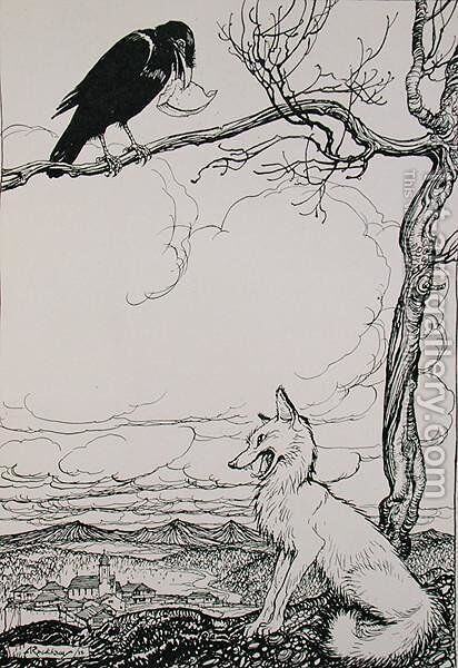 The Fox and the Crow, illustration from Aesops Fables, published by Heinemann, 1912 by Arthur Rackham - Reproduction Oil Painting