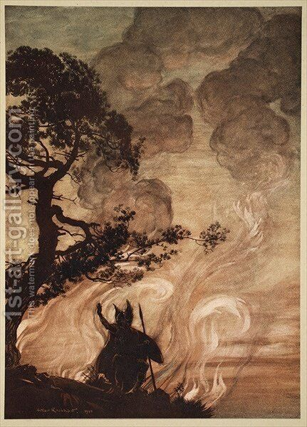 As he moves slowly away, Wotan turns and looks sorrowfully back at Brunnhilde, illustration from The Rhinegold and the Valkyrie, 1910 by Arthur Rackham - Reproduction Oil Painting