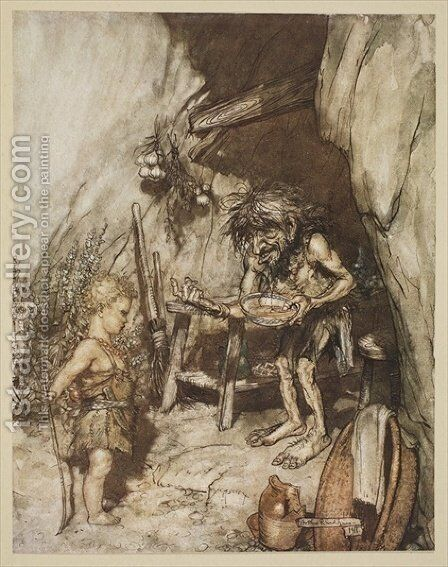 Mime and the infant, illustration from Siegfried and the Twilight of the Gods, 1924 by Arthur Rackham - Reproduction Oil Painting