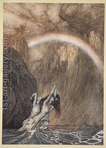 The Rhines fair children, Bewailing their lost gold, weep, illustration from The Rhinegold and the Valkyrie, 1910 by Arthur Rackham - Reproduction Oil Painting
