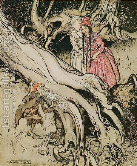 The end of his beard was caught in a tree, illustration from Snow White and Rose Red, from Fairy Tales of the Brothers Grimm, 1900 by Arthur Rackham - Reproduction Oil Painting