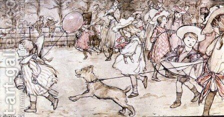In the Broad Walk from Peter Pan in Kensington Gardens by J.M. Barrie, 1906 by Arthur Rackham - Reproduction Oil Painting