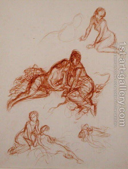 Studies of girls sitting on the grass by Arthur Rackham - Reproduction Oil Painting