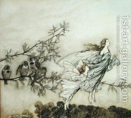 The Fairies have their Tiff with the Birds, 1906 illustration for 'Peter Pan in Kensington Gardens by J.M. Barrie, pub. 1906 by Arthur Rackham - Reproduction Oil Painting