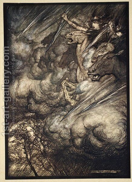The ride of the Valkyries, illustration from The Rhinegold and the Valkyrie, 1910 by Arthur Rackham - Reproduction Oil Painting