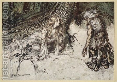 Mime finds the mother of Siegfried in the forest, illustration from Siegfried and the Twilight of the Gods, 1924 by Arthur Rackham - Reproduction Oil Painting