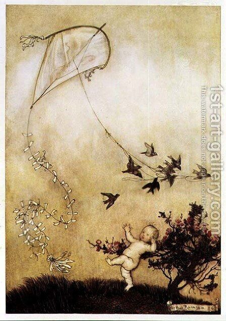Kite Flying in Kensington Gardens from Peter Pan in Kensington Gardens by J.M. Barrie, 1906 by Arthur Rackham - Reproduction Oil Painting