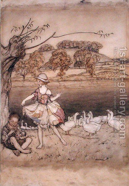 Tattercoats dancing while the gooseherd pipes, illustration from English Fairy Tales, retold by F.A. Steel, published 1918 by Arthur Rackham - Reproduction Oil Painting
