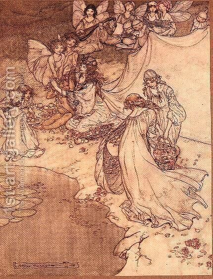 Illustration for a Fairy Tale, Fairy Queen Covering a Child with Blossom by Arthur Rackham - Reproduction Oil Painting