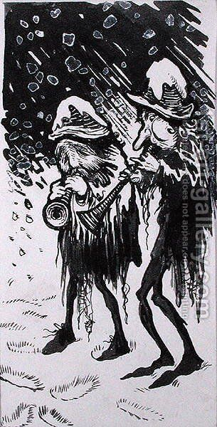 Yule Logs, Snapdragon, Wassail, Waits and Holly, illustration from Old Friend Christmas, by C.V. Godby by Arthur Rackham - Reproduction Oil Painting