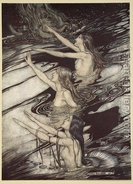 Siegfried Siegfried Our warning is true flee, oh flee from the curse, from Siegfried and The Twilight of the Gods, 1910 by Arthur Rackham - Reproduction Oil Painting