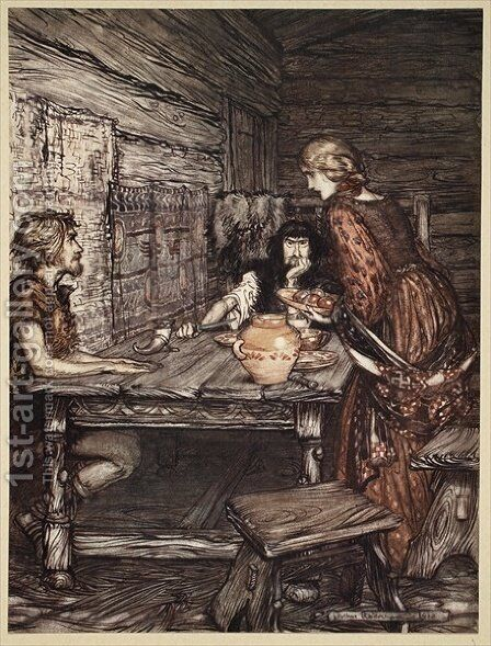Hundling discovers the likeness between Siegmund and Sieglunde, illustration from The Rhinegold and the Valkyrie, 1910 by Arthur Rackham - Reproduction Oil Painting