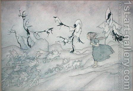 Gerda is terrified by the Snow Queens advance guard, but she said Our Father and is rescued by little bright angels, illustration from The Snow Queen by Hans Christian Andersen, published 1932 by Arthur Rackham - Reproduction Oil Painting