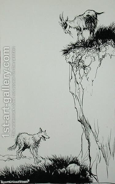 The Wolf and the Goat, illustration from Aesops Fables, published by Heinemann, 1912 by Arthur Rackham - Reproduction Oil Painting