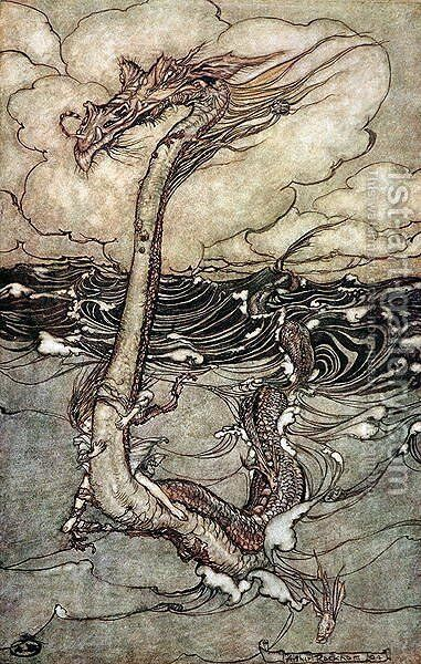 A Young Girl Riding a Sea Serpent, 1904 by Arthur Rackham - Reproduction Oil Painting