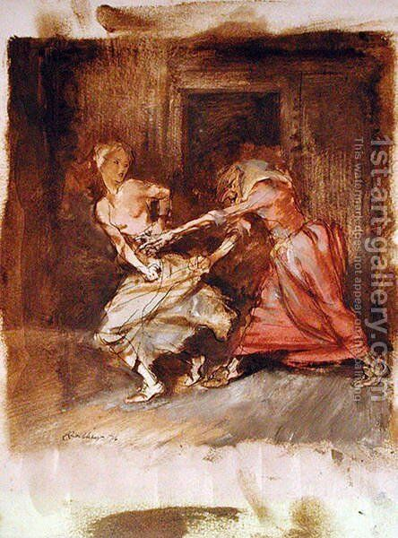 Study for a witch and maiden, 1916 by Arthur Rackham - Reproduction Oil Painting