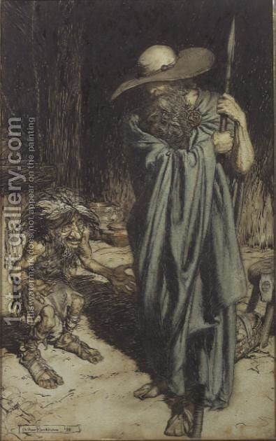 Dwarf and Wotan, from Wagners Ring of the Niebelungen, 1911 by Arthur Rackham - Reproduction Oil Painting