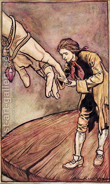 Original watercolour illustration for Gullivers Travels by Swift, Gulliver in Brobdingnag, 1909 by Arthur Rackham - Reproduction Oil Painting