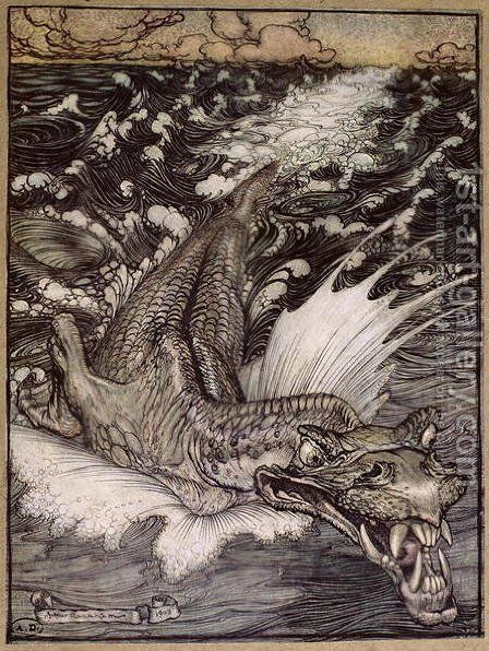 The Leviathan, 1908 by Arthur Rackham - Reproduction Oil Painting
