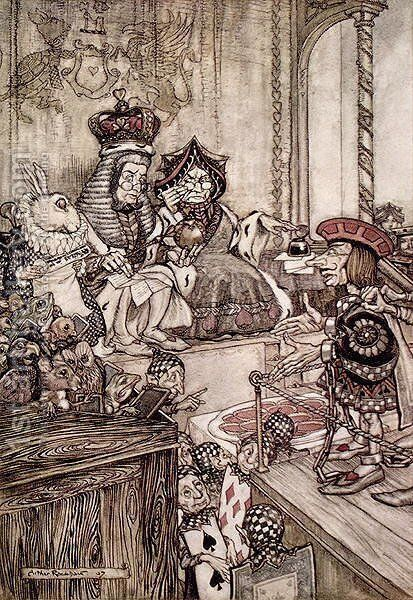 Knave before the King and Queen of Hearts, illustration to Alices Adventures in Wonderland by Lewis Carroll 1832-98 1907 by Arthur Rackham - Reproduction Oil Painting
