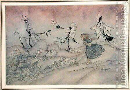 Gerda is terrified by the Snow Queens advance guard, but she said Our Father, illustration from The Snow Queen by Hans Christian Andersen, published 1932 by Arthur Rackham - Reproduction Oil Painting