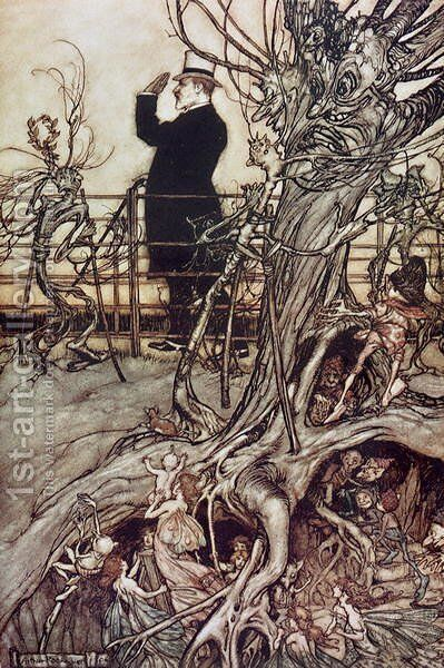 The Kensington Gardens are in London, where the King lives from Peter Pan in Kensington Gardens by J.M. Barrie, 1906 by Arthur Rackham - Reproduction Oil Painting