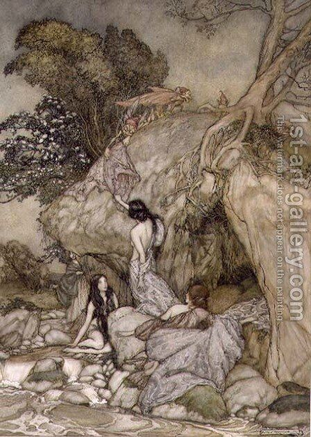 Girls by a Stream, 1906 by Arthur Rackham - Reproduction Oil Painting
