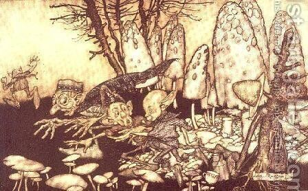 A band of workmen, who were sawing down a toadstool, rushed away, leaving their tools behind them from Peter Pan in Kensington Gardens by J.M. Barrie, 1906 by Arthur Rackham - Reproduction Oil Painting
