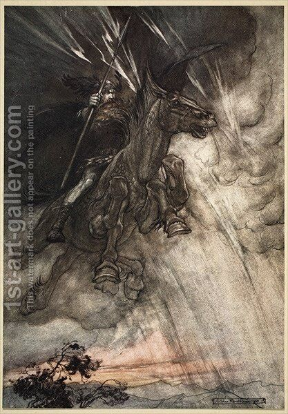 Raging, Wotan Rides to the Rock Like a Storm-wind he comes, frontispiece to The Rhinegold and the Valkyrie, 1910 by Arthur Rackham - Reproduction Oil Painting